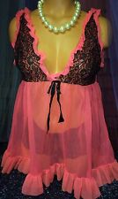 Vintage Sheer Hollywood Chiffon Bright Coral Peignoir Babydoll Gown Panty Set S