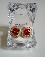 Yellow Gold Finish Clear/Red Ruby Lab Crystal Rapper style Earring Stud with box