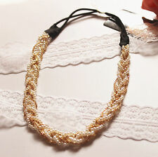 Women Lady BOHO Bohemiab Bride braid Pearl Beads Party Hair Head Band chain