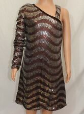 Sara Sara The Collection Bling Girls Dress Sz 8 One Shoulder Brown Sequins NWT