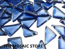 Transparent Dark Blue Glass Triangles - Mosaic Art & Craft Tiles Supplies