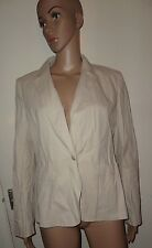 SIZE 14 IVORY/CREAM/NEUTRAL BLAZER, MARKS AND SPENCER, 98% COTTON, PRE-LOVED