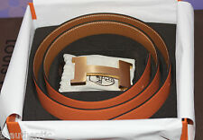 HERMES Constance H Buckle Gold + Reversible Orange/Gold Epsom 42mm Belt 95cm SET