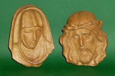 2 intagliato Figure di legno Statue dei santi Maria gesù Busto Bambini