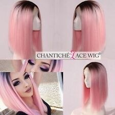 New Short Bob Synthetic Hair Lace Front Wigs Ombre Dark Roots&Pink Wig Heat Safe