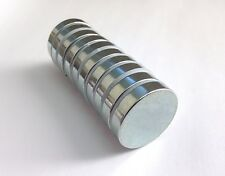 Rare Earth Magnets   10 Pack   24mm x 5mm   1 Inch Diameter   Super Strong NdFeB