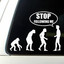 STOP following me funny evolution car decal sticker window removable science
