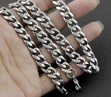 """24"""" 8MM Heavy Cool Silver 316L Stainless Steel Men's Chain Link Curb Necklace"""