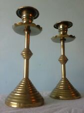 Super Pair Vintage Brass Candle Sticks. Beehive Design.