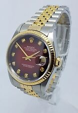 ♛ Rolex DateJust 18K Gold & Steel Rare Diamond Dial 16233 36mm Mens Watch