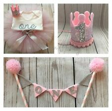 Pink & Silver Cake Smash/1st Birthday Outfit With Mini Party Crown & Cake Topper