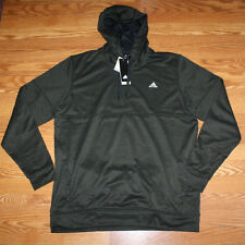 NWT Mens ADIDAS Olive Black Climawarm Pullover Hoodie Jacket Polyester L Large