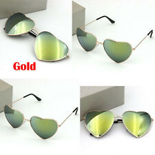 Fashion Women Men Love Heart Metal Film Reflective Sunglasses Glasses Gold