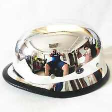 L & CHROME MIRROR NOVELTY GERMAN WWII STYLE MOTORCYCLE HALF HELMET HARLEY SKULL