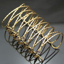 "Fab Rome Gladiator Gold Twisted Cross Cage Open 3.2"" Wide Bracelet Bangle Cuff W"