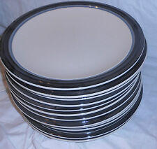 12 PFALTZGRAFF 10 INCH DINNER PLATES WHITE WITH BLACK AND GREY BAND