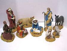 Collectible 9 Piece Enesco Angel of Peace Christmas Nativity