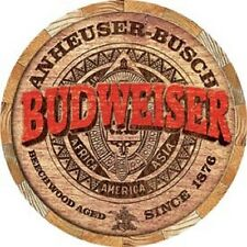 Budweiser Barrel End Round Tin Metal Sign Restaurant Bar Ad Made in America