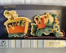 NIB Disney Classic Wooden Pull Toy Train Mickey  Mouse Engineer And Characters