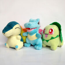 "3X Johto Starter Pokemon Cyndaquil Totodile Chikorita Soft Figure Plush Toy 6"""