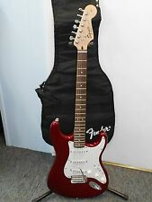 USED FENDER SQUIRE STRATOCASTER RED WITH WHITE PICK GUARD