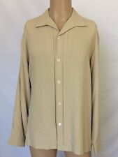 Nat Nast Luxury Originals Long Sleeve Solid Beige Silk Shirt Men Size Medium M