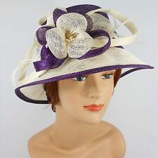 New Woman Church Derby Wedding Party Sinamay Dress Hat 7045 Purple / Ivory
