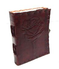 Firu Leather Diary - Rose Embossed Handmade Paper Engraved Leather Bound Journal