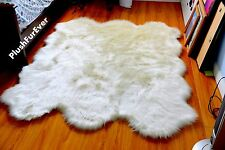 faux sheepskin rug white 6' x 5' animal skin plush throw rug  bear coyote