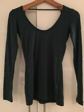 Rachel Pally Jewel Green Long Sleeve Cutout Scoop Back Top XS S Small New NWT