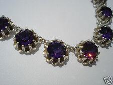 TRES BEAU COLLIER ANCIEN/ANNEES 1900/1920/METAL ARGENTE/STRASS VIOLETS