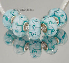 5pcs MURANO Lampwork charm Beads fit 925 silver European Bracelet Chain a85