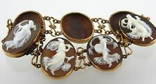 14k 585 Gold Shell Cameo Bracelet of 7 Dancing Goddess