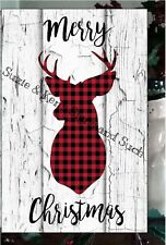 Primitive Merry Christmas Sign Plaid Deer Head Lumberjack Wooden Vintage Sign