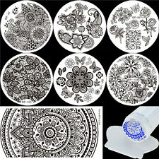 8pcs Flowers Patterns Nail Stamping Plates Kit with Stamper Set DIY Born Pretty