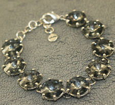 Stella And Dot Amelie Sparkle Bracelet Black Crystal  Silver Chain Jewelry