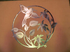Metal Wall Art Silhouette Sculpture Indoor Outdoor Decor-Humming Bird Scene
