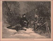 MEN CARIBOU HUNTING IN CANADA by Harral, antique engraving original 1877