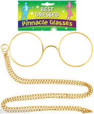 GOLD PINNACLE GLASSES WITH CHAIN VICTORIAN HERCULE POIROT FANCY DRESS SPECS NEW
