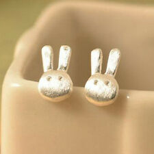 Rabbit Bunny 925 Silver Stud Earrings Mini Easter Studs 8mm