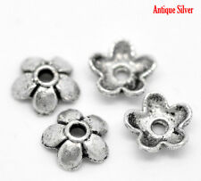 150 Antique Silver 6mm fleur perles caps ~ ~ fit 6-10mm perles bracelets ~ collier (65F)