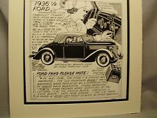 1936 Ford Cabriolet   Auto  Pen Ink Hand Drawn Poster Automotive Museum Archives