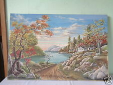 VINTAGE SIGNED HELYNN COYLE COUNTRY LAKE CABIN LANDSCAPE ART PAINTING ON CANVAS