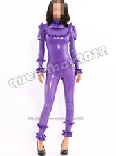 100% Latex Rubber Gummi 0.45mm Catsuit Suit Bodysuit Purple Trim Zip Classic