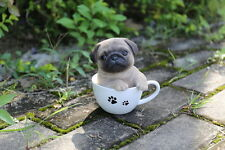 Pug Puppy Dog in a Cup Decoration Gift Resin 5.5 in. New Teacup
