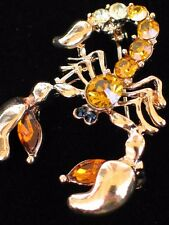 GOLD BROWN RHINESTONE BUG INSECT CLAWS DEADLY VENOM SCORPION PIN BROOCH JEWELRY