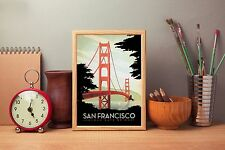 SAN Francisco A4 retrò vintage TRAVEL poster repro print Home Wall Art Decor