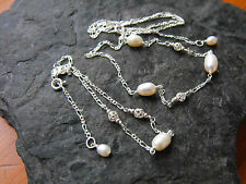 NECKLACE BRACELET freshwater PEARL white rice 925 sterling silver figaro chain