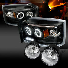 05-07 Dakota Black Halo LED Projector Headlights+Clear Fog Lamps