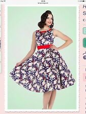 Hearts and Roses London 1950s retro vintage style swing dress size 18  red blue